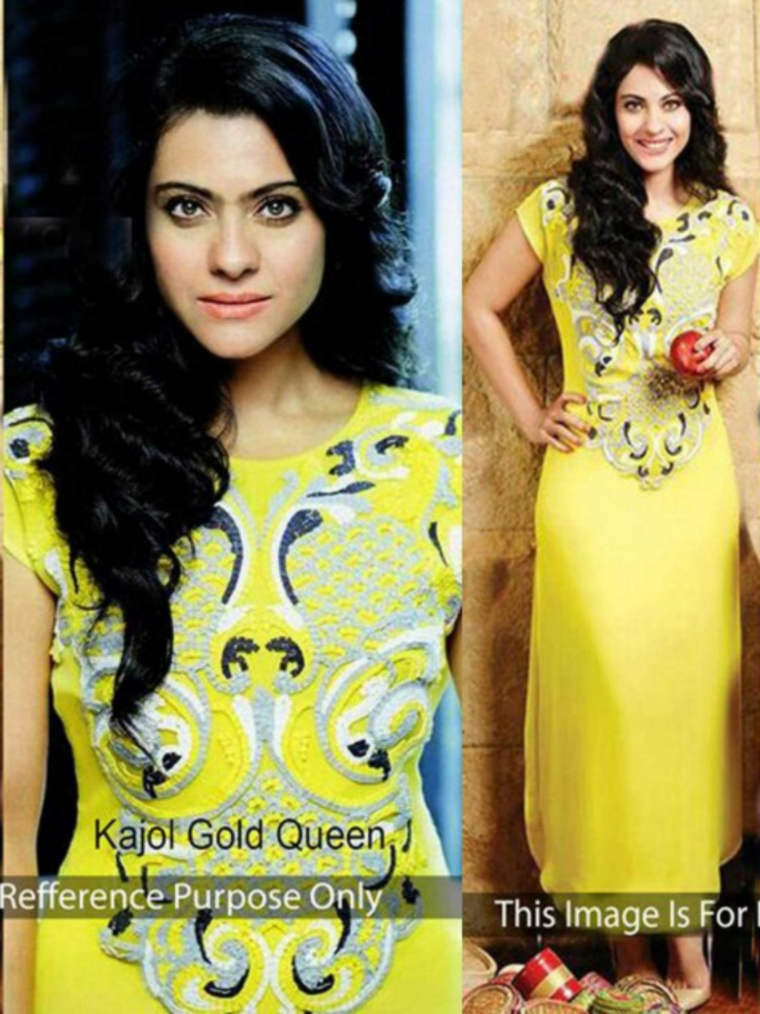 Kajal Yellow Georgette Bollywood One Piece