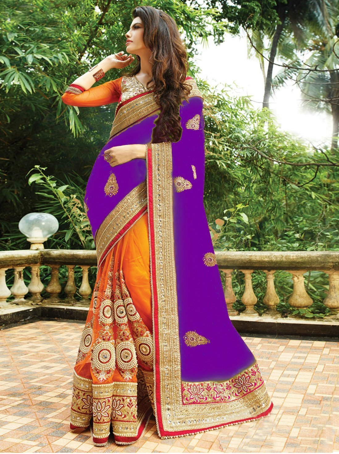 Purple and orange color silk with georgette material saree