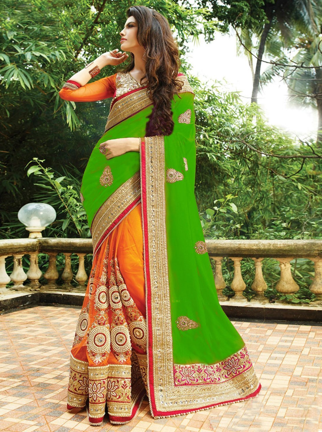 Green and orange color silk with georgette material saree