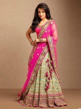 Pink and Lignt Green Color fancy Designer Lehnga