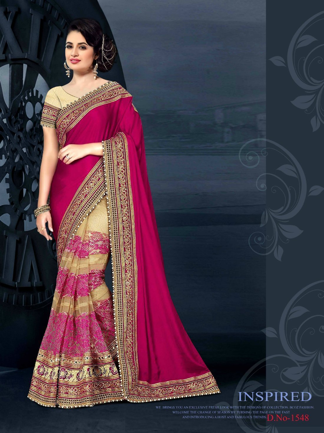 Pink and Cream Color Lycra Saree