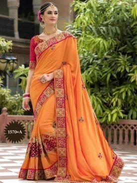 Designer Embroidered Orange saree