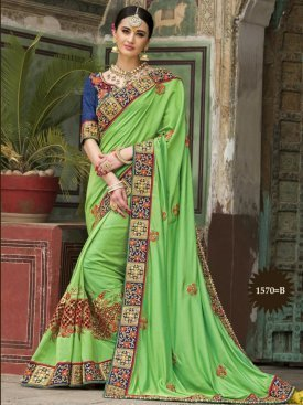 Designer Embroidered Parrot saree