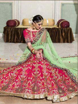 Pink Color Bridal Heavy Lehnga