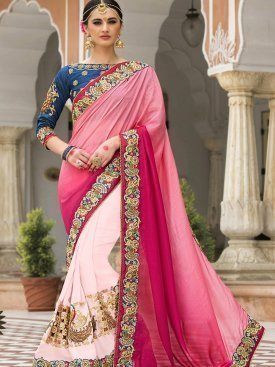 Baby Pink Color Embroidered Georgette saree