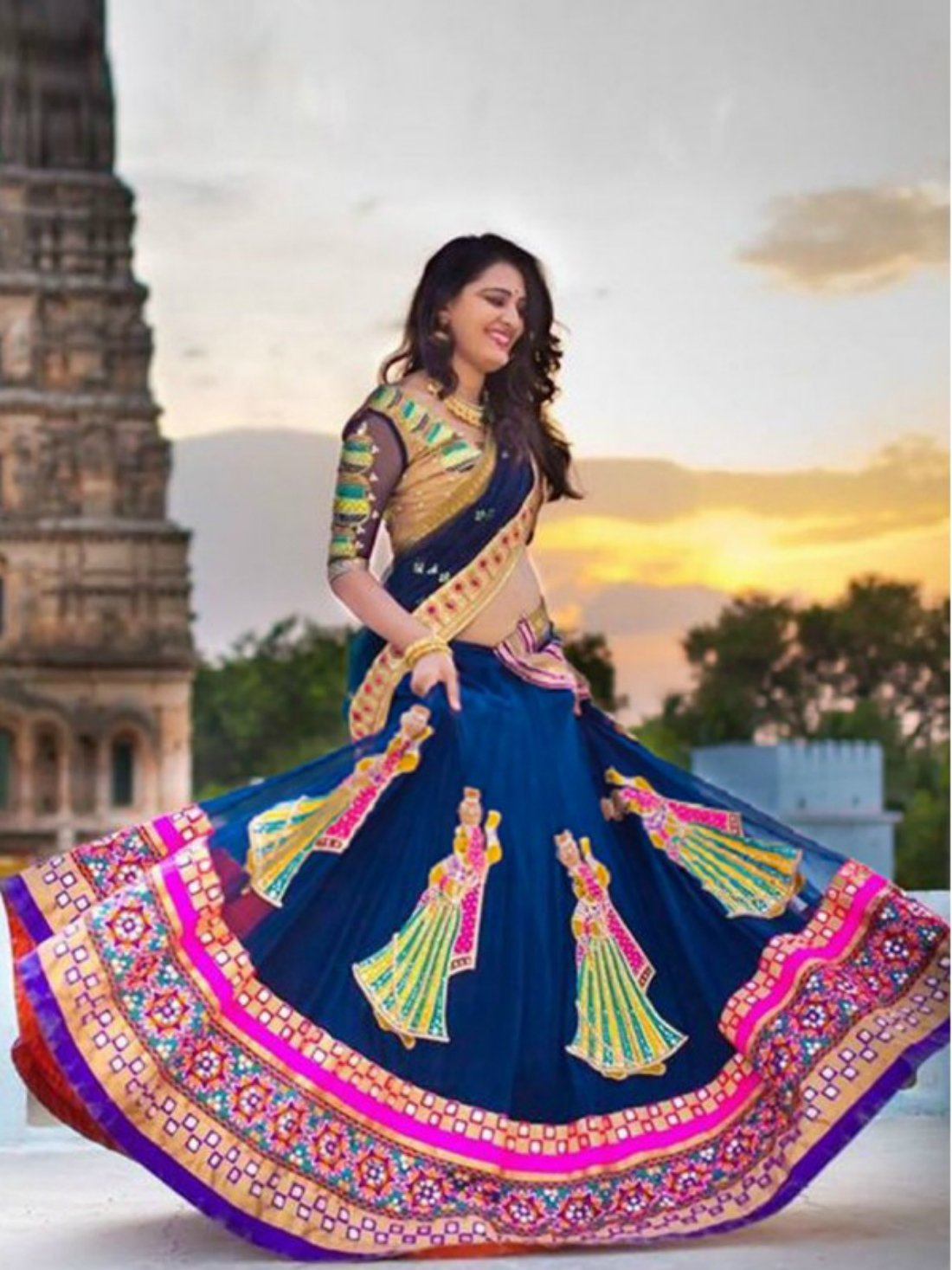 Wedding Wear Blue Georgette Lehenga Choli- Indiana Lifestyle Online Shopping