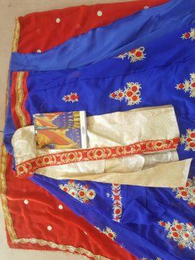 Blue and Red Color Designer Wedding Lehnga- Indiana Lifestyle Online Shopping