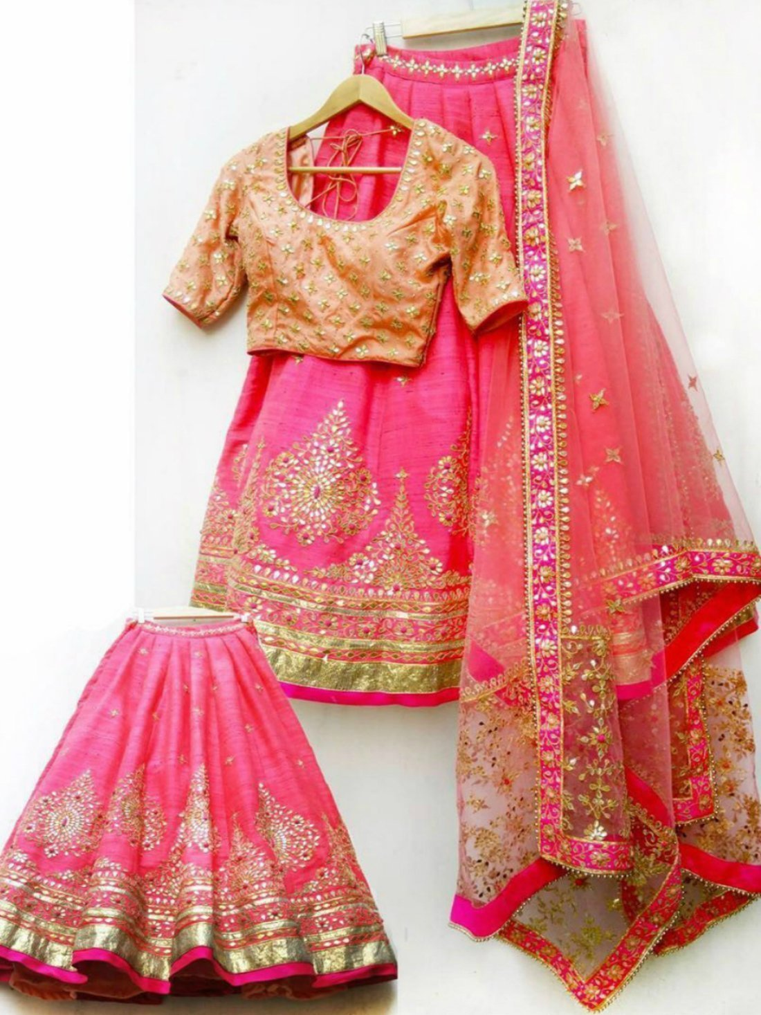 Pink Color Embroidery Lehnga- Indiana Lifestyle Online Shopping