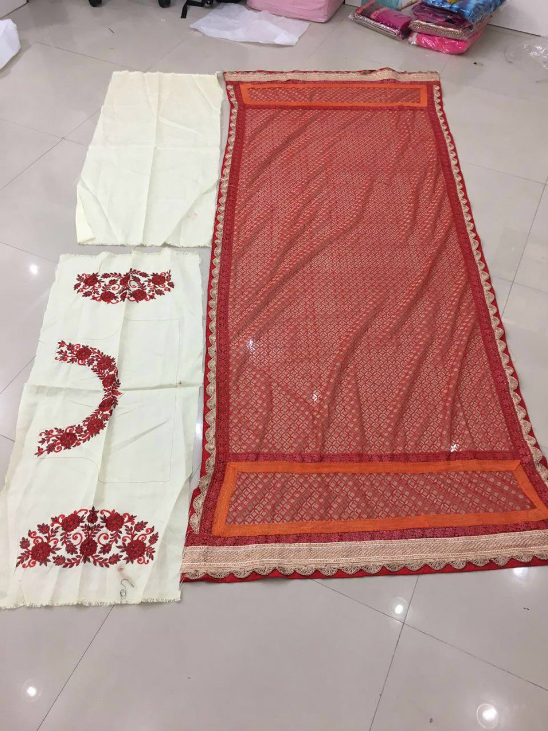 Red and Cream Bollywood  Lenhga- Indiana Lifestyle Online Shopping