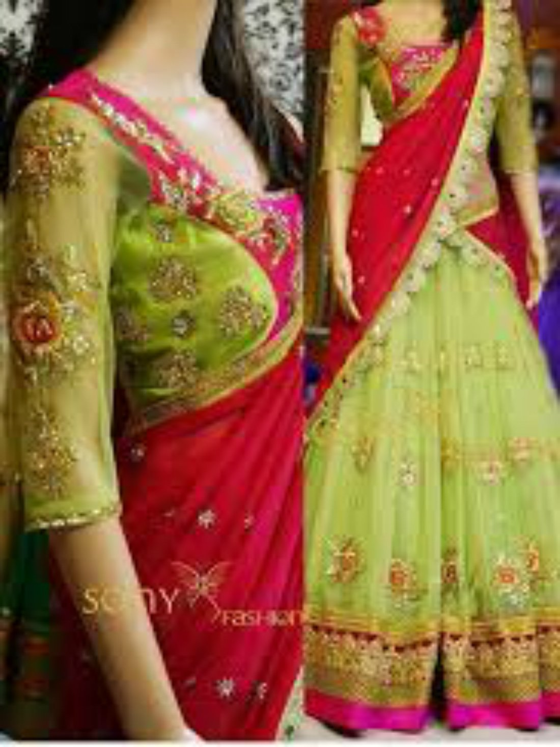 Parrot and Red color Designer Lehnga- Indiana Lifestyle Online Shopping