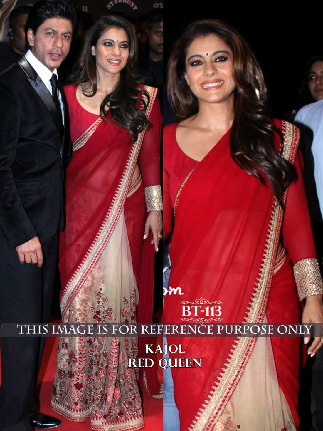 Kajol Red Color Bollywood Saree- Indiana Lifestyle Online Shopping