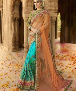 Embroider Fashion Yellow Net Saree