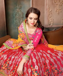 Red and Yellow color multi embroidery Georgette saree