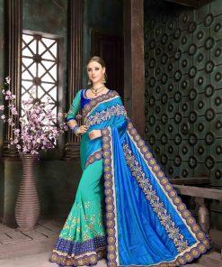 Blue Paper Silk Embroidery Saree