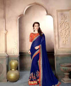 Pink color georgette embroidery work saree