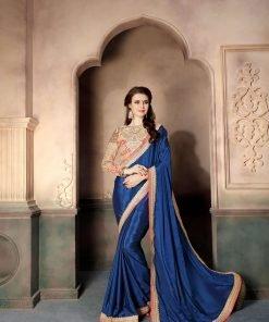 Blue Color Chinnon Saree