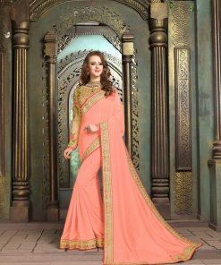 Peach color Embroidery saree