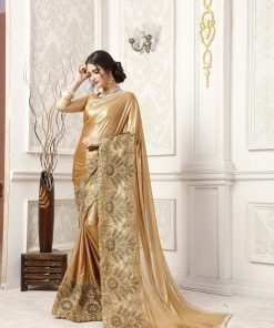 Golden Color Malai Saree By Indiana Lifestyle