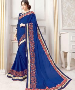 Blue color simple saree with embroidery