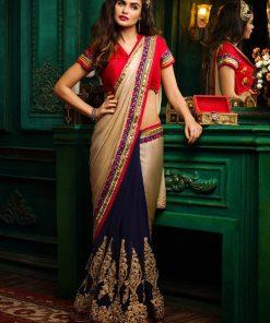 Golden And Blue Half-Half Saree