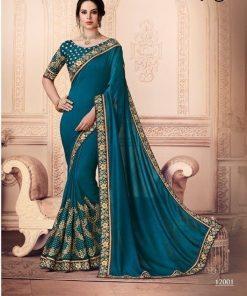 Dark Green Color Vichitra saree