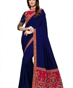 Embroidery Pallu Blue Color Saree