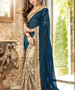 Blue And Golden Color Embroidery Saree
