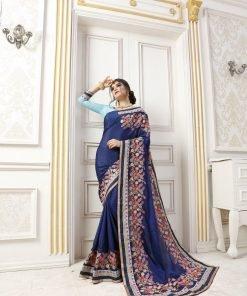 Blue Color Embroidery Saree