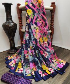 Blue and Pink Color Print Linen Saree