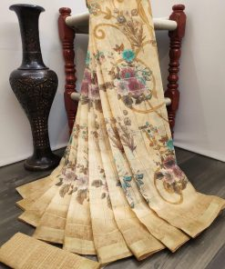 Cream color Linen saree