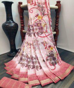 Flower Pink Linen Woven Saree