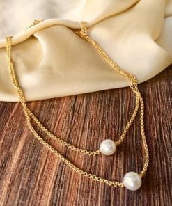 Trendy Alloy 2 Pearl Necklace