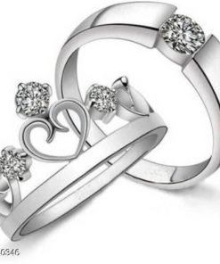 Couple Stainless Steel Silver Plated Ring