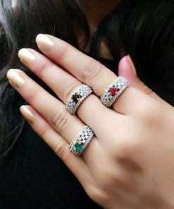 Color Oval Stone Diamond 3 Rings