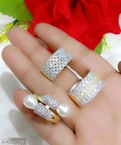 Pearl and Diamond rings Pack of 3