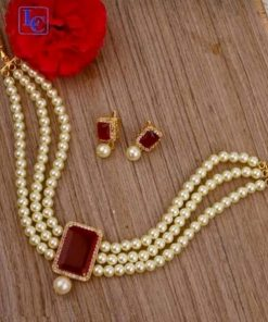 Sapphire with pearl bead necklace set
