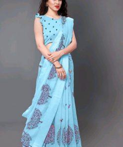 Aqua blue print cotton saree