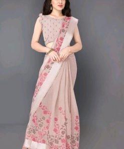 Digital Printed Cotton Silk Peach Saree with Blouse