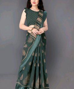 Beautiful Bottle Green Printed Cotton Saree