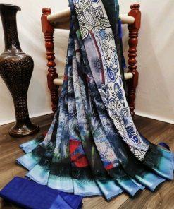 Digital Printed Blue and Multi Color Cotton Saree
