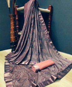 Copper Lycra Silk Sarees