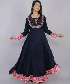 Black with pink lace work rayon long kurti