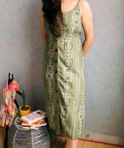 Stylish Retro Women Mehndi Dress