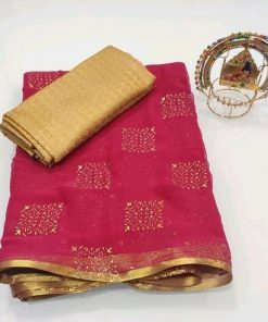 Chiffon printed jari border saree with jaquared blouse