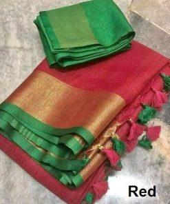 Attractive Cotton Blend Slub Women's Sarees