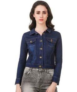 Solid Dark Blue Denim Jacket