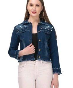 Full Sleeve Embellished, Self Design Women Jacket