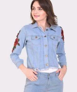 Full Sleeve Rose Work Women Denim Jacket
