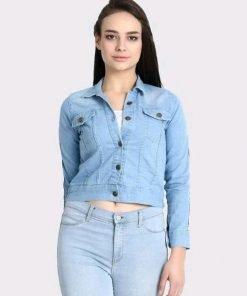 Attractive Women Sky Blue Denim Jacket