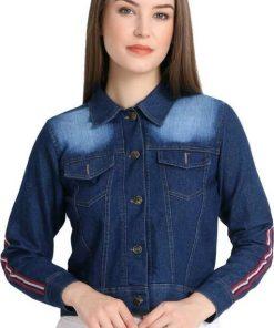 Denim Solid Side Strip Navy Blue Jacket